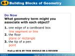 Do Now What geometry term might you associate with each object? 1. one edge of a cardboard box