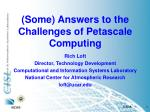 (Some) Answers to the Challenges of Petascale Computing