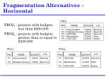 Fragmentation Alternatives – Horizontal