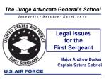 Legal Issues for the First Sergeant