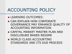 ACCOUNTING POLICY