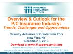 Overview & Outlook for the      P/C Insurance Industry: Trends, Challenges and Opportunities