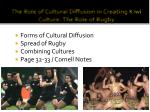 The Role of Cultural Diffusion in Creating Kiwi Culture: The Role of Rugby