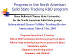 Progress in the North American Solid State Tracking R&D program