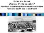 Cotton and Slavery What was life like for a slave?