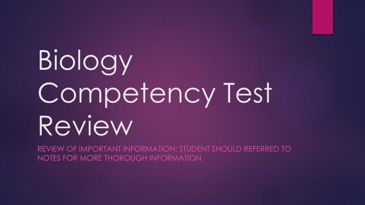 biology competency test review n.