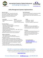 Key Areas of Focus: ¨ Overview of Safety Management