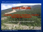 SLOPE FAILURE Landslides, Mudflows, Earthflows, and other Mass Wasting Processes
