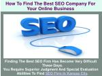 How To Find The Best SEO Company For Online Your Business