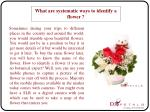 What are systematic ways to identify a flower?