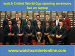 watch Cricket World Cup  live on laptop