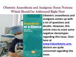 Obstetric Anaesthesia and Analgesia